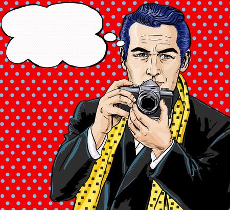 reportero: Arte pop de la vendimia Hombre con la cámara de fotos y con el habla invitación bubble.Party. Hombre de comics.Playboy.Dandy. club de caballeros. hombre paparazzi. periodista de moda. Fotógrafo. Turista con la cámara.