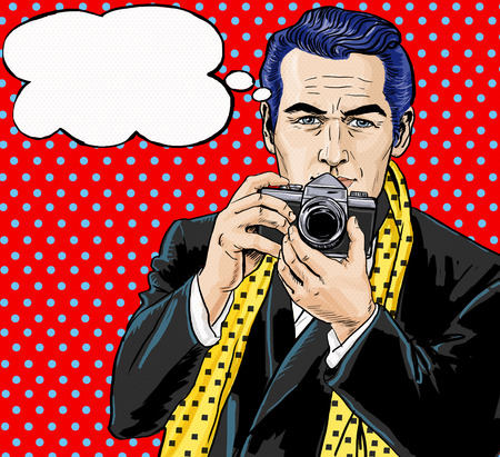 playboy: Vintage Pop Art Man with photo camera and with speech bubble.Party invitation. Man from comics.Playboy.Dandy. Gentleman club. Paparazzi man. Fashion journalist. Photographer. Tourist with camera. Stock Photo