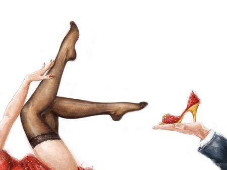 pin up vintage: Lunghe gambe Donna graziosa che porta le calze, isolato su bianco. manifesto pubblicitario. Piedini della donna in calze. Calze pubblicità. Scarpe pubblicità. Mostra poster. Showgirls. Pin up poster. piedini sexy