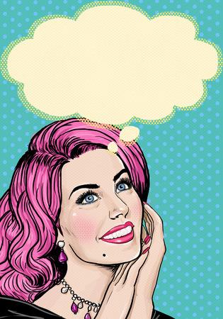 mujer enamorada: Ilustración del arte pop de la muchacha de la cabeza de color rosa en el arte Pop Art background.Pop chica. Invitación de la fiesta. Tarjeta de felicitación de cumpleaños. Poster publicitario. Mujer cómica. Muchacha romántica. Muchacha de pensamiento. Pensamientos Fantasía. Foto de archivo