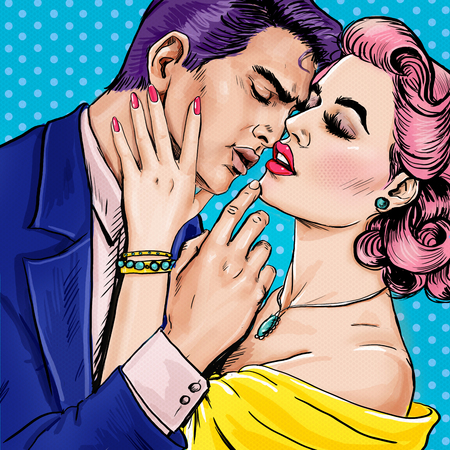 vintage woman: Love couple.Pop Art Couple.Pop Art love. Valentines day postcard.  movie scene. Love Pop Art illustration Pop Art love. Valentines day postcard. Real love. Movie poster. Comic book love. male