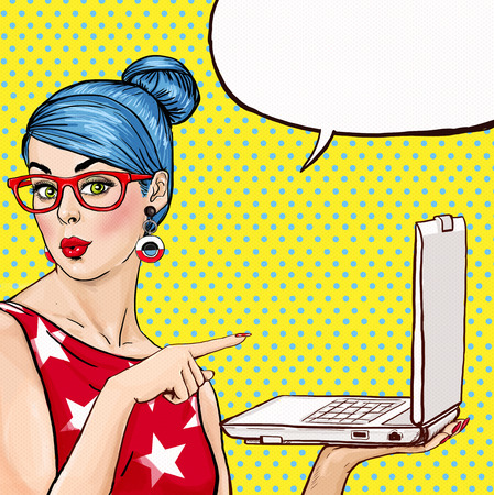 Girl with laptop in the hand in comic style. Woman with notebook . Girl showing the laptop. Girl in glasses. Hipster girl. Sexy blue hair girl with laptop.