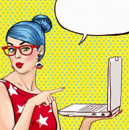 comic: Chica con el portátil en la mano en estilo cómico. Mujer con el cuaderno. Chica mostrando el portátil. Muchacha en vidrios. Chica inconformista. Sexy chica de pelo azul con la computadora portátil. Publicidad digital. MacBook. Negocio.