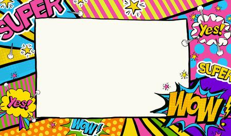 kunst: Pop-Art-Hintergrund. Werbeplakat. Pop-Art-Rahmen für Platz für Text. Pop-Art-Hintergrund, Fotorahmen, Pop-Art-Rahmen, Andy Warhol, wow, super, Sterne, 1950er, 1960er Lizenzfreie Bilder