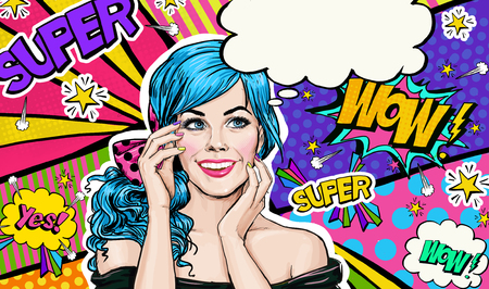 advertise: Pop Art illustration of blue head girl on Pop art  background.Pop Art girl. Party invitation. Birthday greeting card. Advertising poster. Comic woman. Romantic girl hiding her face.