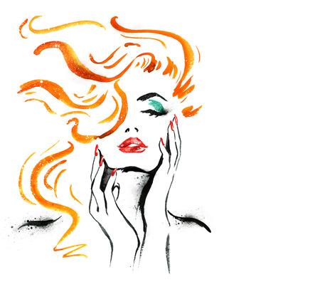 Portret van de vrouw met de hand .Abstract aquarel. Mode-illustratie. Rode lippen en nagels schilderen van de waterverf. Cosmetica advertentie. Lippenstift en spijker-vernis advertentie. Denken vrouw close-up. Stockfoto