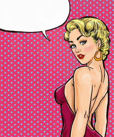 sex girl: Pop Art girl with the speech bubble. Pop Art background.Party invitation.Birthday card. Movie star.Comic woman.Sexy girl. Red dress.Lust, seduction, sex, flirt, disco, party,  wow, makeup, love, 1960s Stock Photo