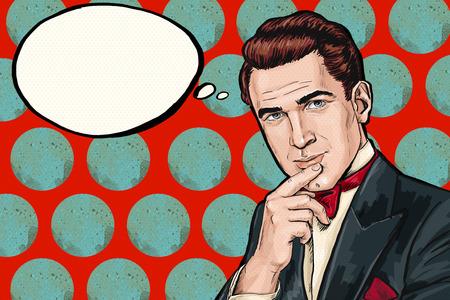kunst: Vintage-Pop-Art-Mann mit Gedanken bubble.Party Einladung zu denken. Mann von comics.Dandy. Gentleman-Club. denken sie, gedanke, Idee, Gedanken, Gigolo, schauen, Pop-Art-Hintergrund, smoking, Brunettemann, Dandy Lizenzfreie Bilder