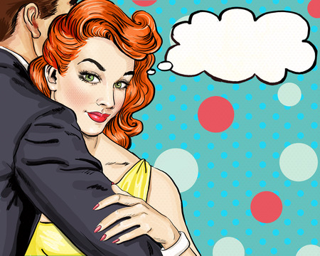 love: Love couple. Pop Art Couple.Pop Art love. Valentines day postcard. Hollywood movie scene. Love Pop Art illustration Pop Art love.  Real love. Movie poster. Comic book love. Mistress , cuddles, adorer