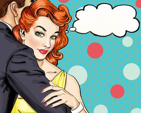 romantik: Parförälskelse. Popkonst Couple.Pop konst kärlek. Alla hjärtans dag vykort. Hollywood filmscen. Kärlek Popkonst illustration popkonst kärlek. Äkta kärlek. Filmaffisch. Serietidning kärlek. Husmor, omfamningar, adorer Stockfoto