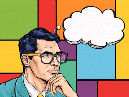 Vintage Pop Art pensando Hombre con invitación pensamiento bubble.Party. Hombre de cómics. club de caballeros. pensar, pensamiento, idea, pensamientos, gigolo, ven, fondo del arte pop, smoking, hombre morena, Dandy Foto de archivo