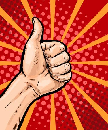 kunst: Nahaufnahme der männlichen Hand zeigt Daumen hoch Zeichen auf Pop-Art-Hintergrund. Pop-Art-Plakat. Pop-Art-Hintergrund. isoliert, Nachricht, Unterstützung, Symbol, Überraschung, Rabatt, Positivität, Zeichen, Verkauf, Jahrgang, wow, ja