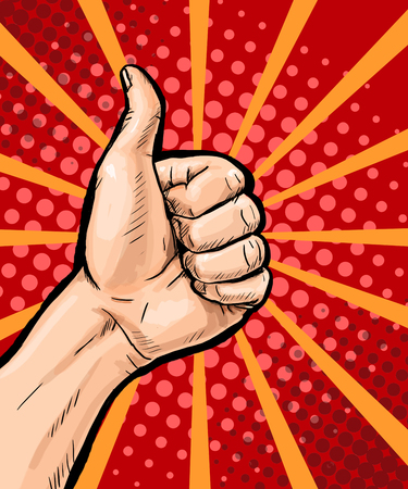Closeup of male hand showing thumbs up sign on pop art background. Pop Art poster. Pop Art background. isolated, message, support, symbol, surprise, discount, positivity, sign, sale, vintage, wow, yes