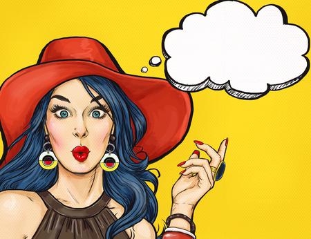 Pop Art fille avec bulle de pensée. Invitation à la fête. Carte d'anniversaire. Hollywood, star de cinéma. Femme comique. Fille sexy. Vente, discount, étonné, wow, mignon, lèvres, hippie, visage, wow, maquillage, merveille, tentation