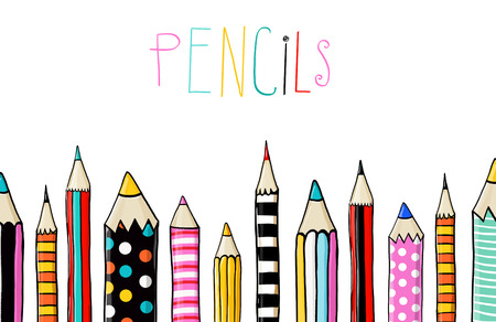 Set of ten colored pencils on white background in sketch fun style.line of colored pencils.Back to school. Pencils background. template, color, book, greeting, school, university, colored, blank,    ,