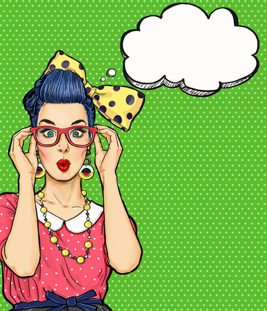 flirting women: Pop Art girl  in glasses with thought bubble. Party invitation. Birthday card.  , Comic woman. Sexy girl. Amazed Stock Photo