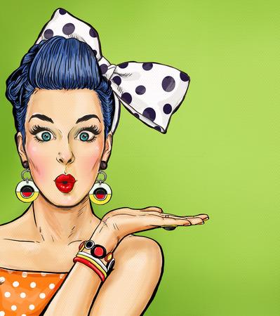 mujer enamorada: Chica del arte pop con burbuja de pensamiento. Invitación de fiesta. Tarjeta de cumpleaños. , estrella de cine. Mujer cómica. La muchacha atractiva. Venta Foto de archivo