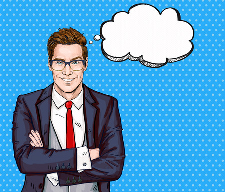 Smiling Businessman in glasses in comic style with speech bubble.Success . Banque d'images