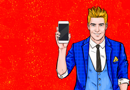 Man with smartphone in the hand in comic style.Man with phone. Man showing mobile phone.Digital advertisement.  , cellphone, student, guy, handsome, flirt, connection, happy, winner,communication Stok Fotoğraf
