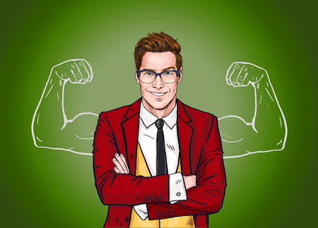 private i: Strong Businessman in  glasses in comic style.Success .Worker. Concept, journalist, movie, smart, corporate, elegant, job, face, pop, glasses, man, necktie, Hollywood, boss, speech bubble, advertising