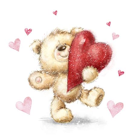 Teddybär mit den großen roten heart.Valentines Grußkarte. Liebe design.Love.I liebe dich Karte. Liebe Plakat. Valentinstag Plakat. Netter Teddybär großes rotes Herz halten. Heirate mich. Seien Sie mein wife.Love Herz