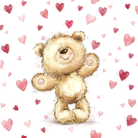 wooing: Teddy bear with  red hearts.Valentines greeting card. Love design.Love.I love You card. Love poster. Valentines day poster. teddy, cute, poster, love background, heart background, forever love, heart