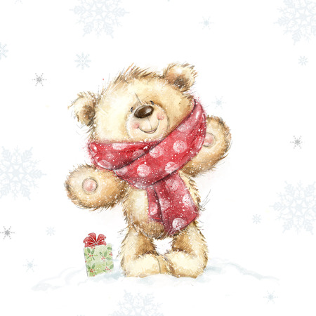 Cute teddy bear with the gift .Childish illustration in sweet colors. Background with bear and gift. Hand drawn teddy bear. Christmas greeting card. Merry Christmas. New year, snow, Christmas, joy Standard-Bild