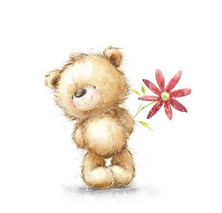 赤い花とかわいいテディベア。クマと花の背景。手描き下ろしテディー ・ ベアは、白い背景で隔離。バレンタインのグリーティング カード。デザ