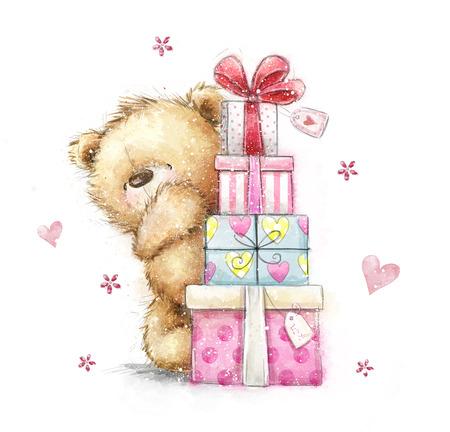 Teddybeer met de giften Hand getrokken die teddybeer op witte achtergrond wordt geïsoleerd. Gelukkige verjaardagskaart, geschenken, boog, geschenkdozen, harten, kerstcadeaus, schattig, zoet, romantisch, wenskaart, kerstkaart Stockfoto