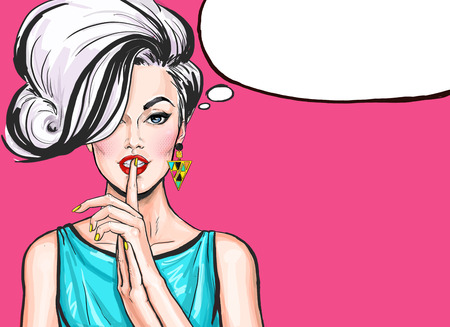 Pop Art illustration of girl with the speech bubble.Pop Art girl. sale, naive, blonde woman, blonde, blond, discount, cool, love, pop, retro, cute, advertising, poster, vintage, shopping, temptation Stok Fotoğraf