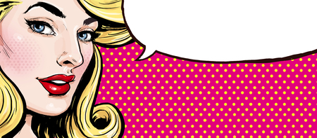 Pop Art illustration of girl with the speech bubble.Pop Art girl.Supermodel Stok Fotoğraf