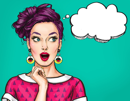 Surprised young sexy woman with open mouth.Comic woman. Amazed women. Pop Art girl.