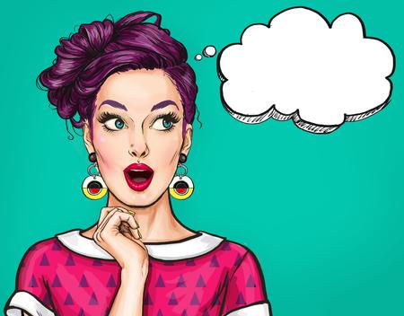オープン mouth.Comic 女性と驚く若いセクシーな女性。驚かれる女性。ポップアートの女の子。