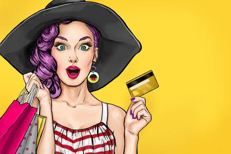 Pop art woman on shopping, il successo, l'invito, il modello, l'amore, bolla, party girl, San Valentino, gossip girl, faccia, compleanno, testa, cappello, carino, fresco, acquisto, manifesto, disegno, naif, pop, parlare, kitsch Archivio Fotografico - 72080932