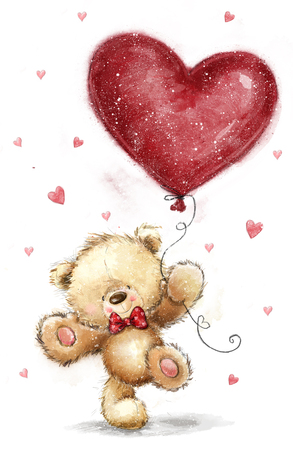 Cute bear with big red heart. Love design. birth, joy, salutation, greeting, courtship, art, love me, sketch, party, invitation, Be my wife. Love heart. Love poster. bow, hearts background, big heart Archivio Fotografico