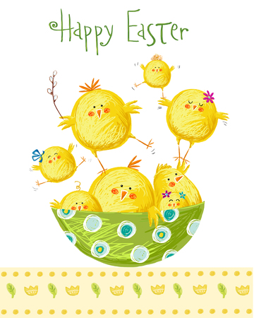 Happy easter greeting card. Cute chicken with text in stylish colors. Concept holiday spring cartoon greeting card.Congratulation with Easter Banco de Imagens