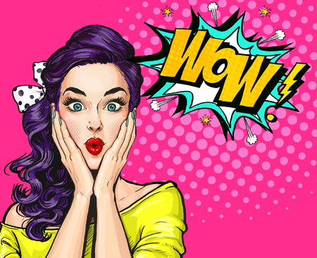 Ilustración del arte pop, muchacha sorprendida. Mujer cómica. Cartel de publicidad. Muchacha del arte pop. Invitación de fiesta.
