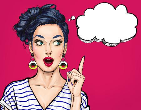 Mujer sexy joven sorprendida con la boca abierta. Señalando con el dedo hacia arriba. Mujer cómica. Mujeres asombradas Chica Pop Art. Foto de archivo