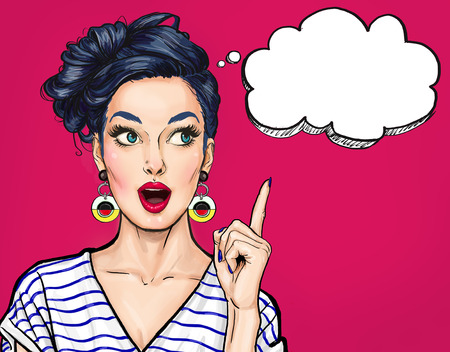 Surprised young sexy woman with open mouth. Pointing finger up. Comic woman. Amazed women. Pop Art girl.