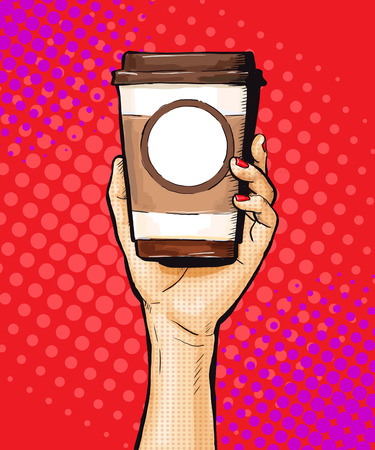 Female hand holding coffee cup in Pop Art style.