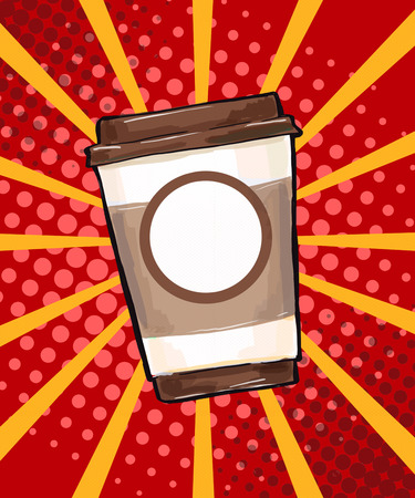 Coffee cup in comic style. Steam, sweet, object, hipster, lifestyle, fresh, style, hot, energy, liquid, container, design, illustration, cartoon, background, taste, sketch, breakfast, coffee cup, wow