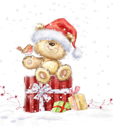 Cute teddy bear with christmas gifts in the Santa hat. Hand drawn teddy bear.Christmas greeting card. Merry Christmas. New year Archivio Fotografico