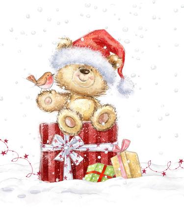 Cute teddy bear with christmas gifts in the Santa hat. Hand drawn teddy bear.Christmas greeting card. Merry Christmas. New year Standard-Bild