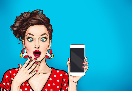 Girl with phone in the hand in comic style. Woman with smartphone. Hipster girl. Digital advertisement.Woman with phone.
