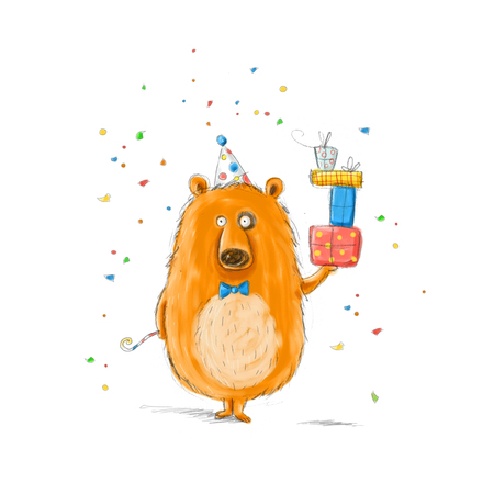 Funny bear with the gifts.Childish illustration. Hand drawn  bear.Happy birthday.Party invitation.