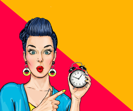 Surprised comic woman with clock