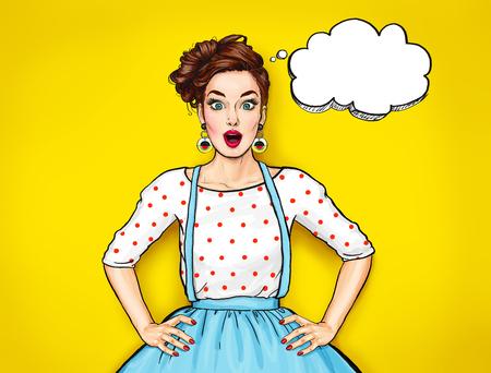 オープン mouth.Comic 女性と驚く若いセクシーな女性。おしゃべりな女の子です。驚かれる女性。ポップアートの女の子。