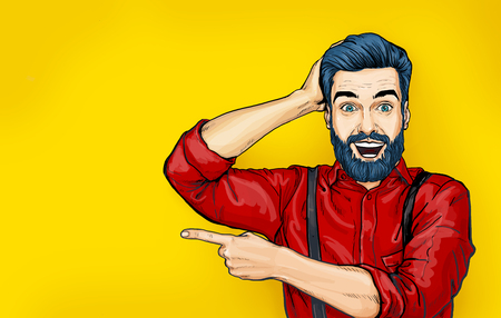 Man with shocked facial expression. Surprised Man in comic style. Man showing. Advertisement. Smiling man. Wow.