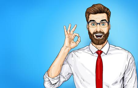 Smiling Businessman in glasses with OK sign. Foto de archivo