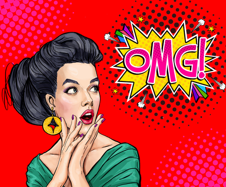 Surprised young woman with open mouth. Amazed women. Pop Art girl. OMG. Advertising poster. Stok Fotoğraf
